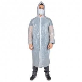 Pelerină de ploaie cu glugă, de unică folosință, din PE, Poly
