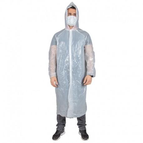 Pelerină de ploaie cu glugă, de unică folosință, din PVC, Poly