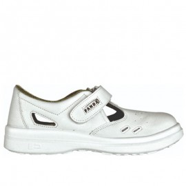 Sandale albe de protecție cu bombeu metalic, Sanitary Lybra, S1 SRC