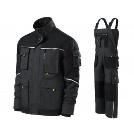 Costum de lucru din tercot, jachetă + pantaloni cu pieptar, 270 g/mp, Ranger