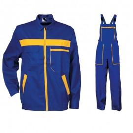 Costum salopetă cu pieptar L4 din bumbac: jachetă + pantaloni, 240 g/mp