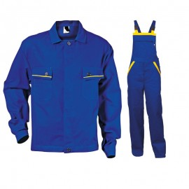 Costum de vară de lucru: jachetă și pantaloni cu pieptar, bumbac 100%, 240 g/mp, L2