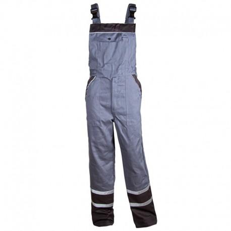 Pantaloni cu pieptar de vară, detalii reflectorizante, 240 g/mp, Collins Grey