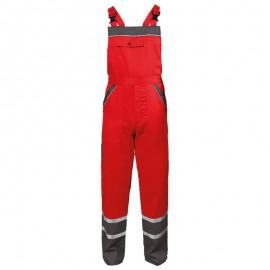 Pantaloni cu pieptar de vară, cu dungi reflectorizante, 240 g/mp, Collins Red