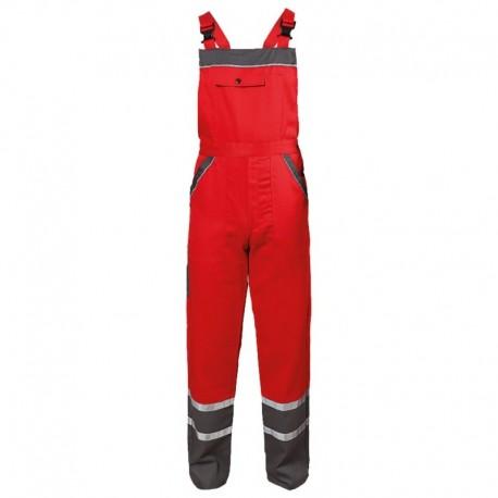 Pantaloni cu pieptar de vară, detalii reflectorizante, 240 g/mp, Collins Red