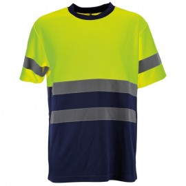 Tricou de înaltă vizibilitate, cu benzi reflectorizante, 100% poliester, Glow HV
