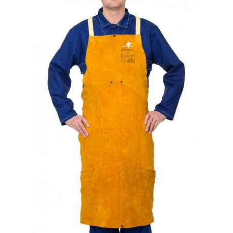 Șorț pentru sudură, din șpalt de vită, cusături Kevlar, Weldas Golden Brown