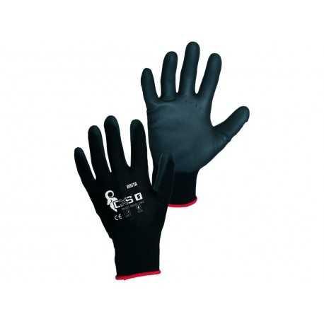 Mănuși de lucru tricotate cu strat de poliuretan BRITA BLACK, 0001-5V